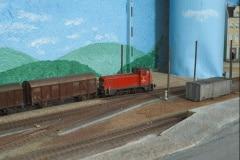 Zhlaví stanice s nákladním vlakem
